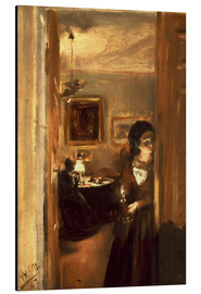 Aluminium print  Living room with Menzels sister - Adolph von Menzel