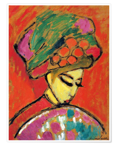 Premium poster Young Girl in a Flowered Hat