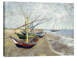 Canvas  Fishing Boats on the Beach at Saintes-Marie-de-la-Mer - Vincent van Gogh