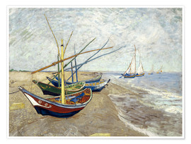 Premium poster Fishing boats on the beach, Saintes-Marie-de-la-Mer