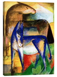 Canvas  Two blue donkeys - Franz Marc