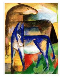 Premium poster Two blue donkeys