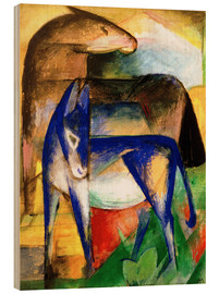 Wood print  Two blue donkeys - Franz Marc