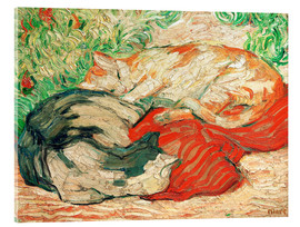 Acrylic print  Cats on red cloth - Franz Marc