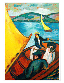 Premium poster  Sailing Boat, Tegernsee - August Macke