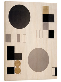 Wood print  Composition with circles and rectangles - Sophie Taeuber-Arp