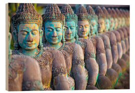 Wood print  Green Buddha statues, Cambodia - Paul Kennedy