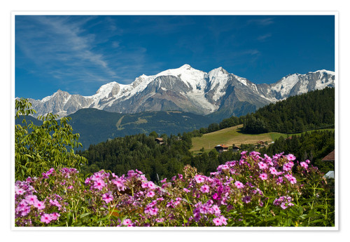 Premium poster View from the village Cordon to Mont Blanc Massif, France