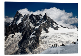 Acrylic print  Mont Blanc Massif and mountaineer, France - Frauke Scholz