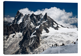 Canvas print  Mont Blanc Massif and mountaineer, France - Frauke Scholz