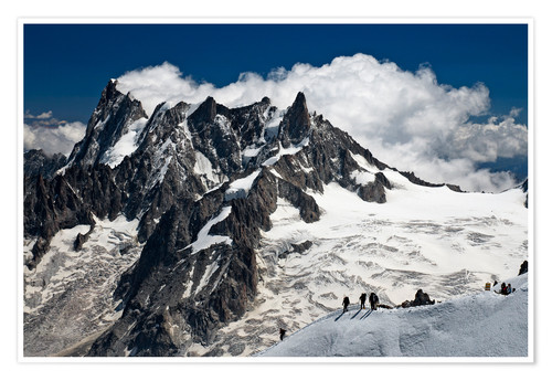 Poster Mont Blanc Massif and mountaineer, France