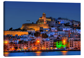 Canvas print  Old town of Ibiza at night - HADYPHOTO by Hady Khandani