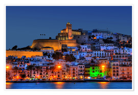 Premium poster  Old town of Ibiza at night - HADYPHOTO