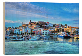 Wood print  View of the old port of Ibiza - HADYPHOTO by Hady Khandani