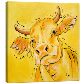 Canvas print  The yellow cow Lotte - Annett Tropschug