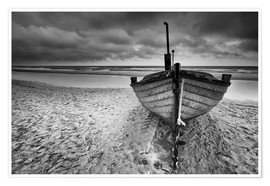 Premium poster Boot am Meer monochrome
