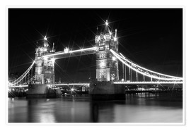 Premium poster  Tower Bridge by Night sw - Melanie Viola