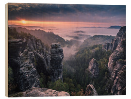 Wood print  Sunrise on the Rocks - Andreas Wonisch