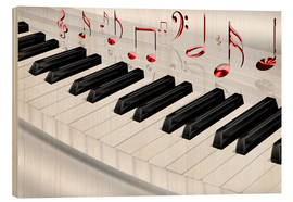 Wood print  Piano keyboard with notes - Kalle60
