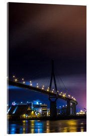 Acrylic print  Köhlbrandbrücke Hamburg harbor at night - Dennis Stracke