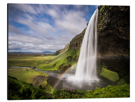 Alu-Dibond  Sejalandsfoss Waterfall with Rainbow - Andreas Wonisch