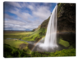 Canvas  Sejalandsfoss Waterfall with Rainbow - Andreas Wonisch