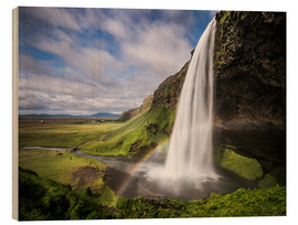 Wood print  Sejalandsfoss Waterfall with Rainbow - Andreas Wonisch