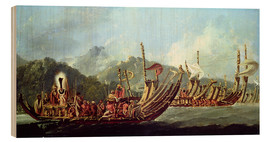 Wood  Tahitian War Canoes. In 1774 James Cook Witnessed a Review of the Fleet Consisting of 160 Big War Ca - William Hodges