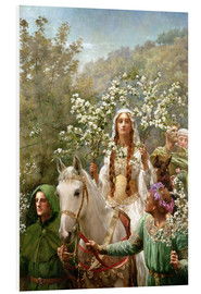 Foam board print  Queen Guinevere's Maying - John Collier