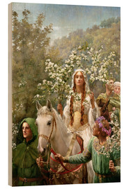 Wood print  Queen Guinevere's Maying - John Collier