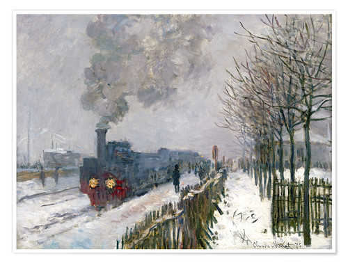 Premium poster Train in the snow (The Locomotive)