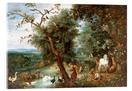 Acrylic print  The Garden of Eden with Adam and Eve - Jan Brueghel d.Ä.