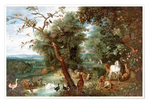 Premium poster The Garden of Eden with Adam and Eve
