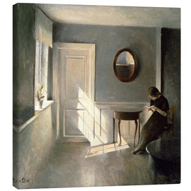 Canvas print  Girl Reading a Letter in an Interior - Peter Vilhelm Ilsted