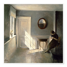 Premium poster Girl Reading a Letter in an Interior