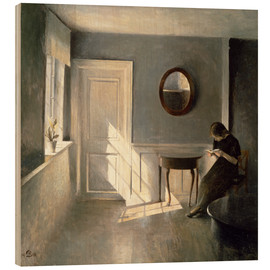 Wood print  Girl Reading a Letter in an Interior - Peter Vilhelm Ilsted