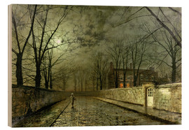 Wood print  Silver Moonlight - John Atkinson Grimshaw