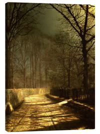 Canvas print  A Moonlit Lane, with two lovers by a gate - John Atkinson Grimshaw