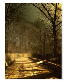 Premium poster  A Moonlit Lane, with two lovers by a gate - John Atkinson Grimshaw