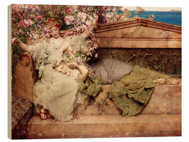 Wood print  In a Rose Garden - Lawrence Alma-Tadema