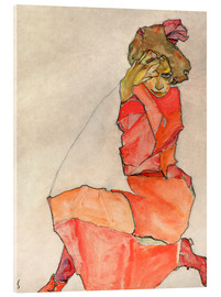 Acrylic print  Kneeling woman in red dress - Egon Schiele