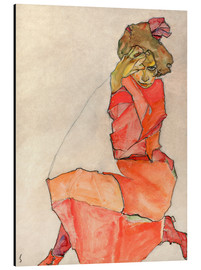 Alu-Dibond  Kneeling woman in red dress - Egon Schiele