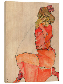 Wood print  Kneeling woman in red dress - Egon Schiele