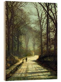 Wood print  Moonlight Walk - John Atkinson Grimshaw