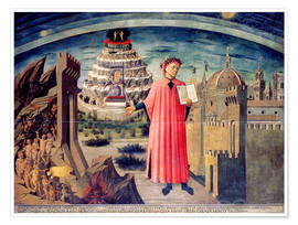 Premium poster  Dante and his poem the Divine Comedy - Domenico di Michelino
