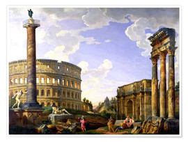Premium poster  Roman Capriccio Showing the Colosseum - Giovanni Paolo Pannini