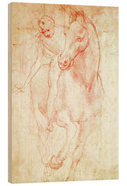 Wood print  Study of a Horse and Rider - Leonardo da Vinci