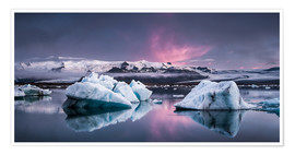Premium poster  Eisebergs at Icelands Glacier Lagoon - Andreas Wonisch