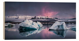 Wood print  Eisebergs at Icelands Glacier Lagoon - Andreas Wonisch