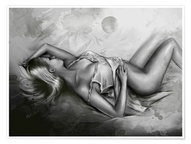 Poster Sleeping Venus - Female nude black and white
